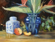 Still Life with Peaches and Blue Vase